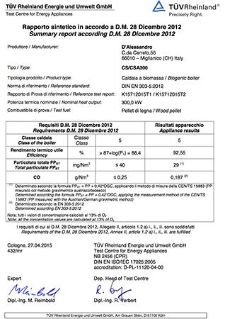 Certification TUV CS 300 e CSA 300