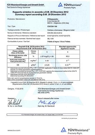 Certification TUV CS 100 e CSA 100