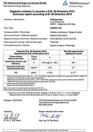 Certificazione TUV CS 130 e CSA 130