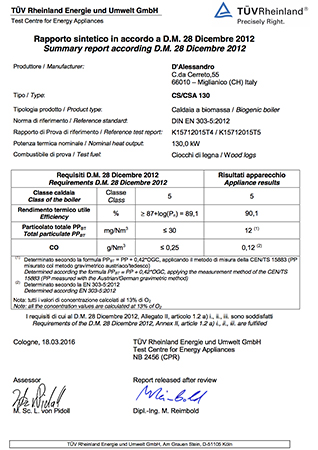 Certification TUV CS 130 e CSA 130