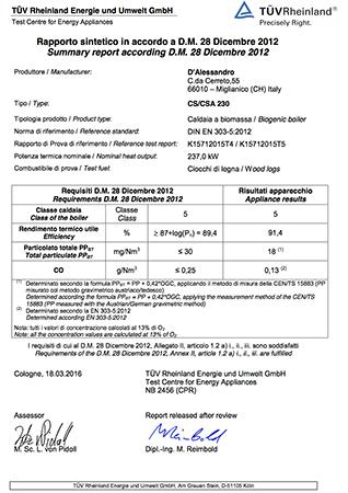 Certificazione TUV CS 230 e CSA 230