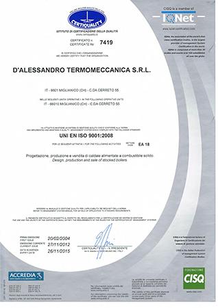 Quality Certification UNI EN ISO 9001:2008